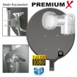 80cm SAT ANTENNE Stahl Hellgrau + TWIN 0,1dB LNB FULLHD OPTICUM  + 2 F-Stecker 7,5mm